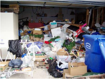 hoarded garage before